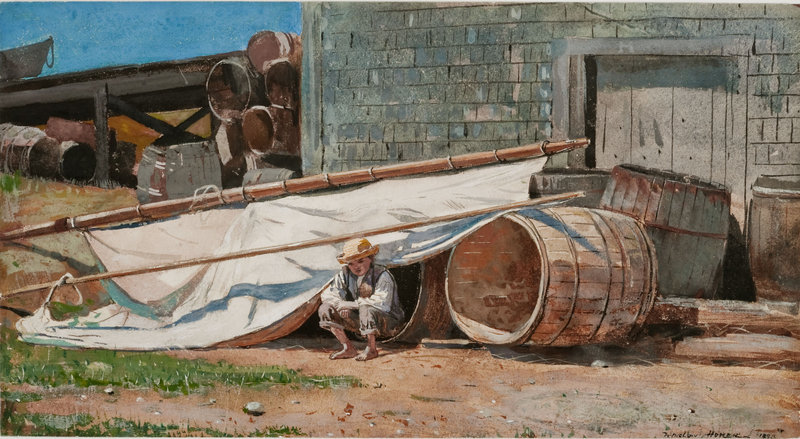 """Homer's """"Boy in a Boatyard,"""" 1873, gouache and graphite on paper, at the Portland Museum of Art."""