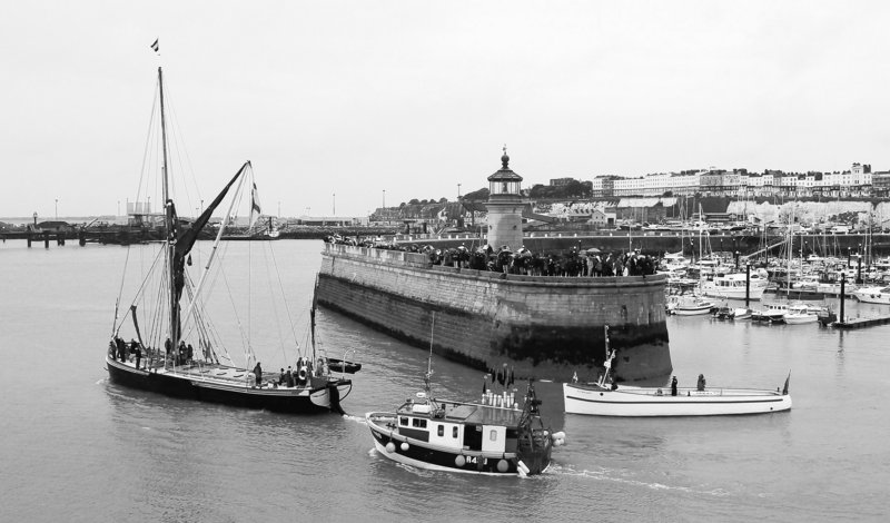 """Small boats set sail from Ramsgate Harbour in England to mark the 70th anniversary of Operation Dynamo, the evacuation of more than 338,000 Allied troops from the beaches of Dunkirk, France, during World War II. """"We can all be proud of the 'little ships' of Dunkirk,"""" Prime Minister David Cameron said."""