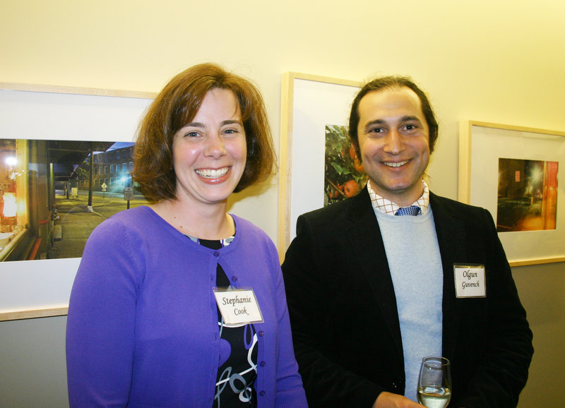 Stephanie Cook, whose family owns AlliedCook Construction which built UNE's new College of Pharmacy, and Dr. Olgun Guvench, a professor in the College of Pharmacy.