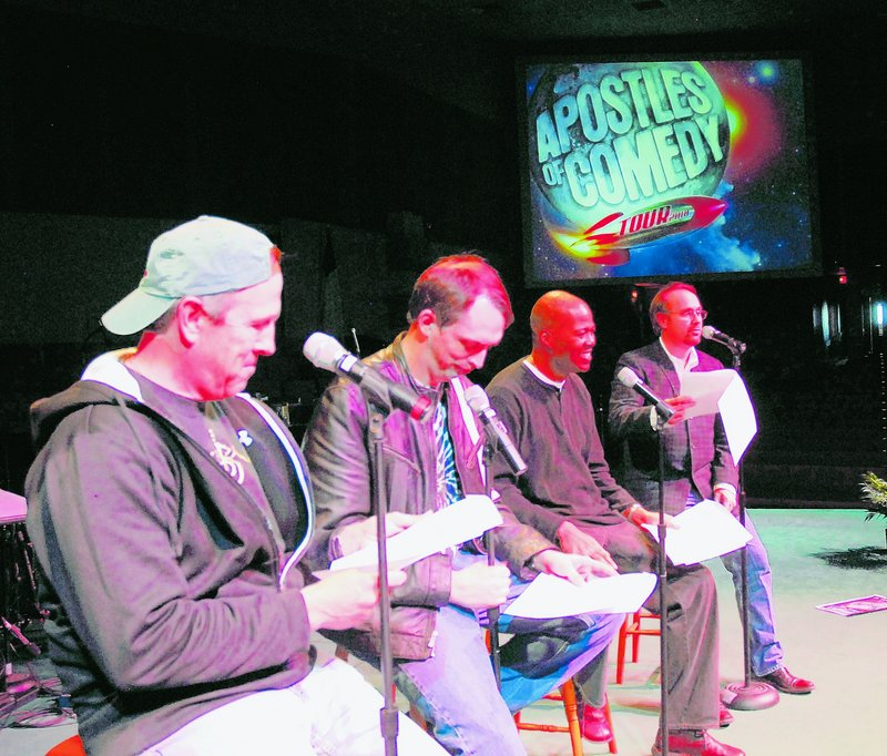 The four-man Apostles of Comedy perform in churches and hope to work in more mainstream settings outside of religious facilities in the future. From left are Jeff Allen, Daren Streblow, Anthony Griffith and Greg Lee.
