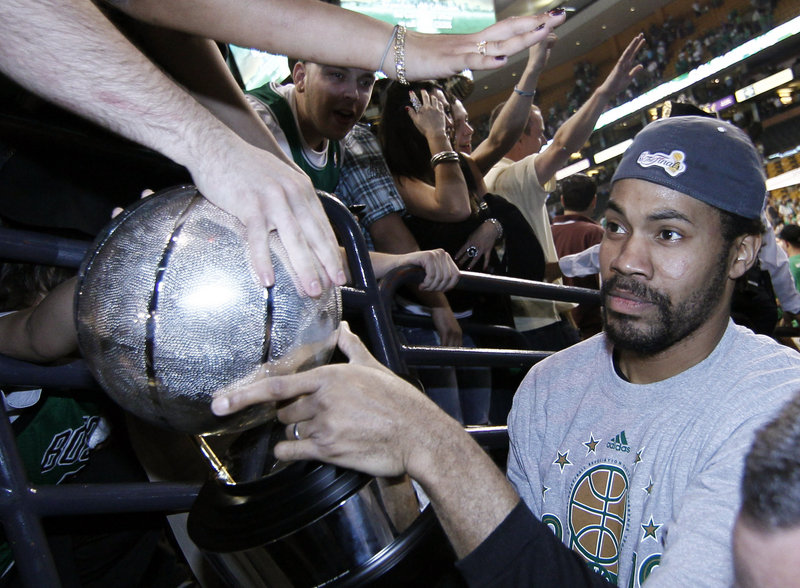 Rasheed Wallace of the Celtics admired the Eastern Conference trophy Friday night, but the biggest prize lies ahead.