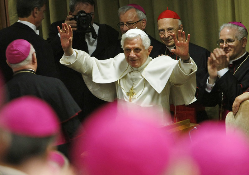 Pope Benedict XVI waves after meeting with Italian bishops at a conference at the Vatican last week. An Illinois priest sex-abuse case illustrates a dilemma he faced as a cardinal.