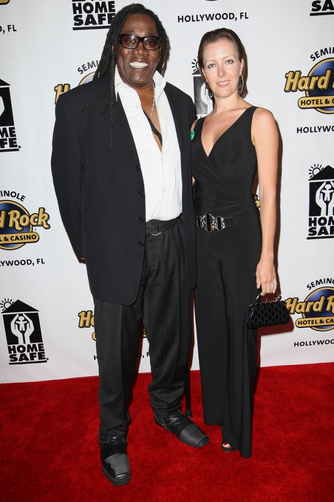 """In this photo released by the Seminole Hard Rock, Clarence and Victoria Clemons stop for a photo at the """"Clarence Clemons Home Safe"""" event at Seminole Hard Rock Hotel & Casino in Hollywood, Fla, Saturday. Clemons, who underwent major spinal surgery on Jan. 13, 2010, returned to the stage at the event."""