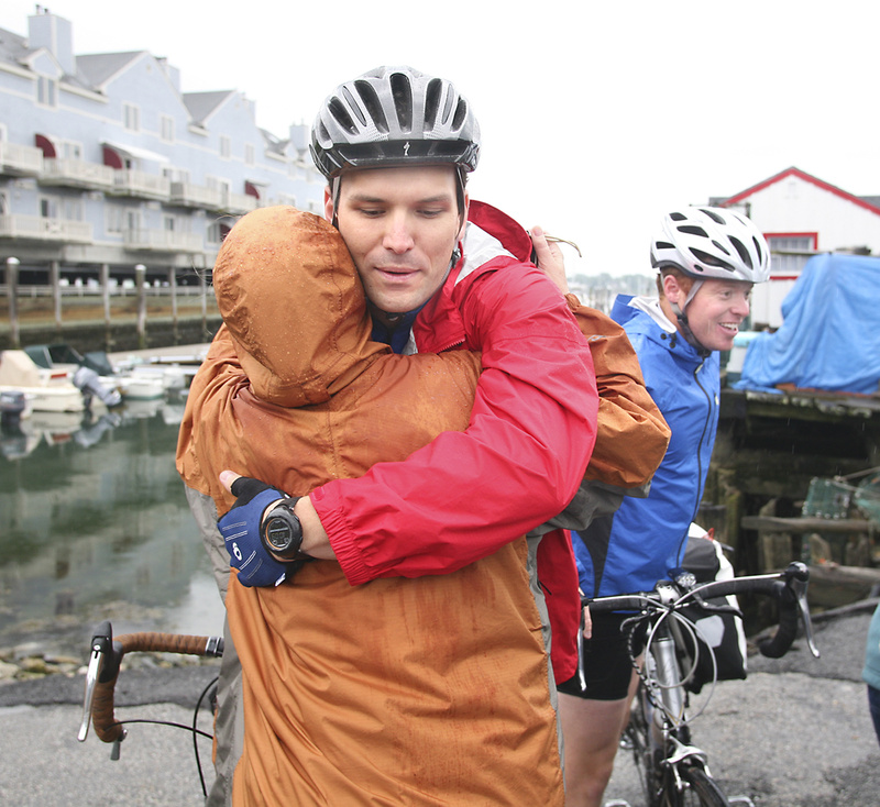 Joel Glover hugs his mother, Jane, goodbye before leaving Portland this morning for a 4,000-mile bike trek across the country with two fellow veterans. The veterans are due to arrive in Los Angeles on Aug. 1.