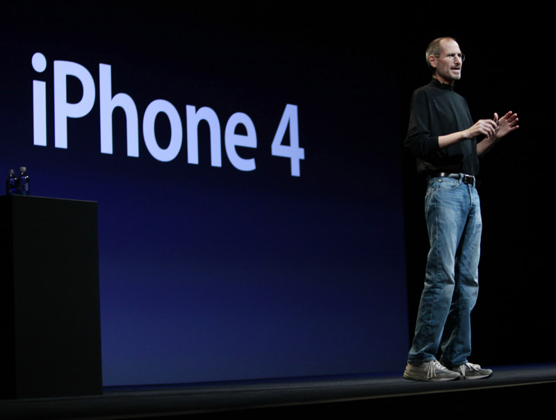 Apple CEO Steve Jobs introduces the new iPhone 4 at the Apple Worldwide Developers Conference today in San Francisco.