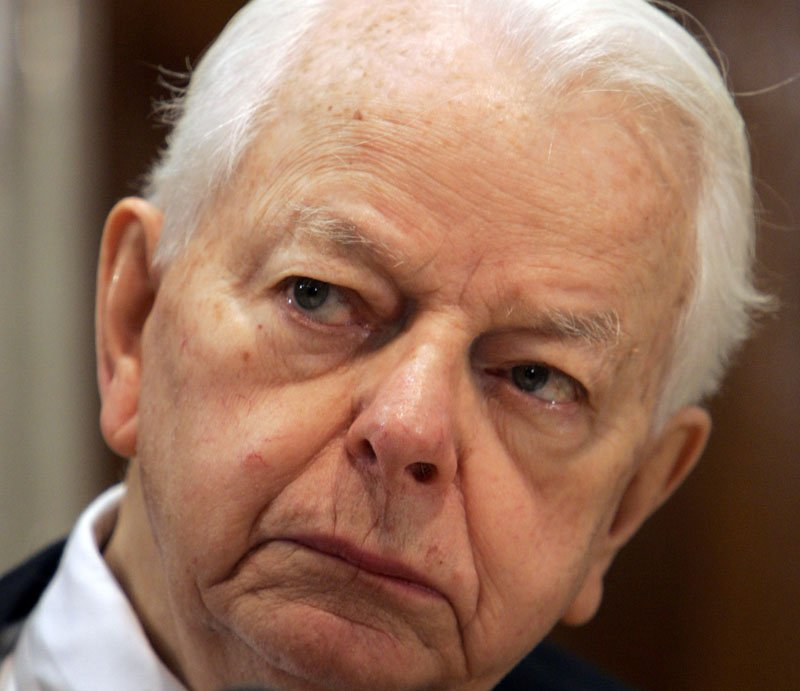 In this 2005 file photo, Sen. Robert Byrd, D-W.V., listens to testimony during a Senate subcommittee hearing on Capitol Hill.
