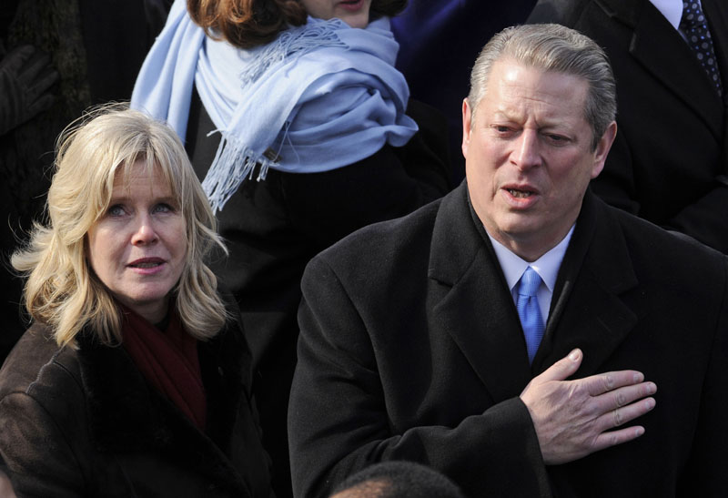 In this Jan. 20, 2009, photo, former Vice President Al Gore and his wife Tipper, listen to the national anthem at the conclusion of inaugural ceremonies for Barack Obama on Capitol Hill.