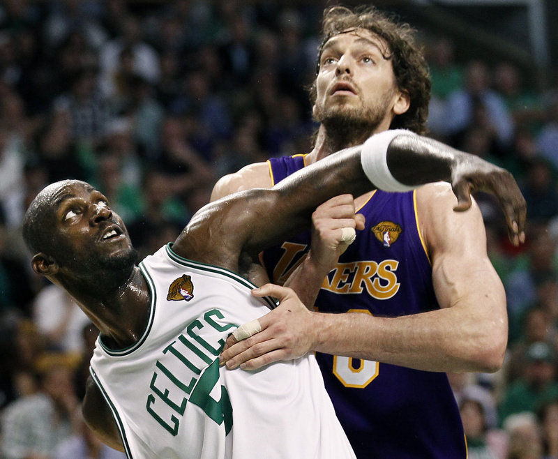 Boston Celtics forward Kevin Garnett and Los Angeles Lakers forward Pau Gasol jockey for position during the third quarter in Game 3 of the NBA basketball finals on Tuesday in Boston.