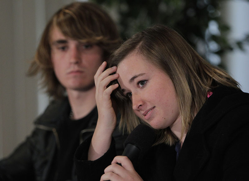 Abby Sunderland, the 16-year-old girl who attempted to sail around the world, listens to a question as she is joined by her brother Zac during a news conference in Marina Del Rey, Calif., today.
