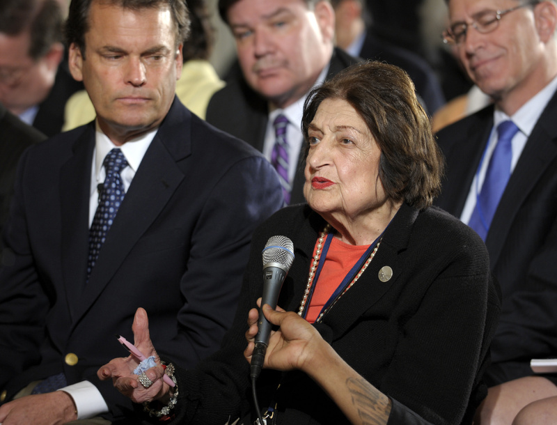 Helen Thomas asks a question of President Obama during a news conference on May 27. Thomas abruptly retired Monday as a columnist for Hearst News Service after she made comments about Israel that were denounced by the White House and her press corps colleagues.