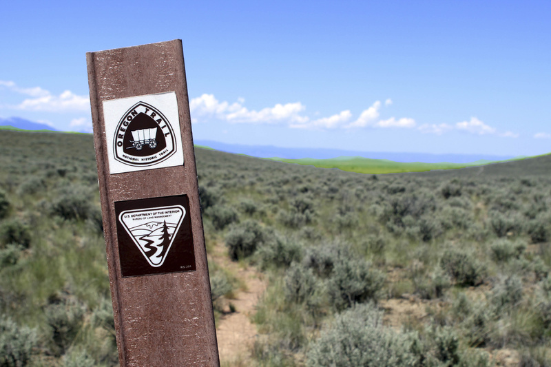 A marker points out a section of the trail at Baker City, Ore.