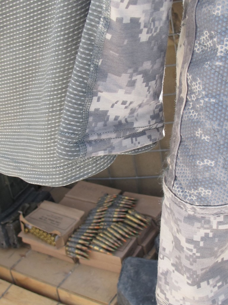 Bullets and laundry share the same cramped space at Bravo Company's remote observation post overlooking the Afghanistan-Pakistan border.