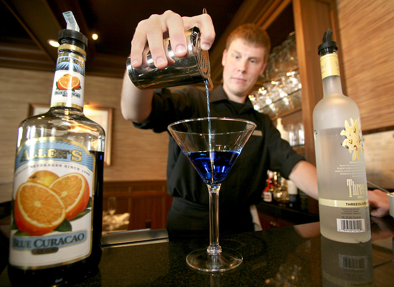 Inn by the Sea bartender Mike Worley makes a red, white and blue Old Glory by the Sea.