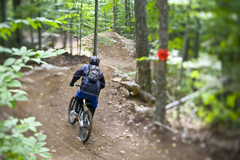 A biker rides a trail in the Sunday River Mountain Bike Park in 2008. The park re-opens on June 25.
