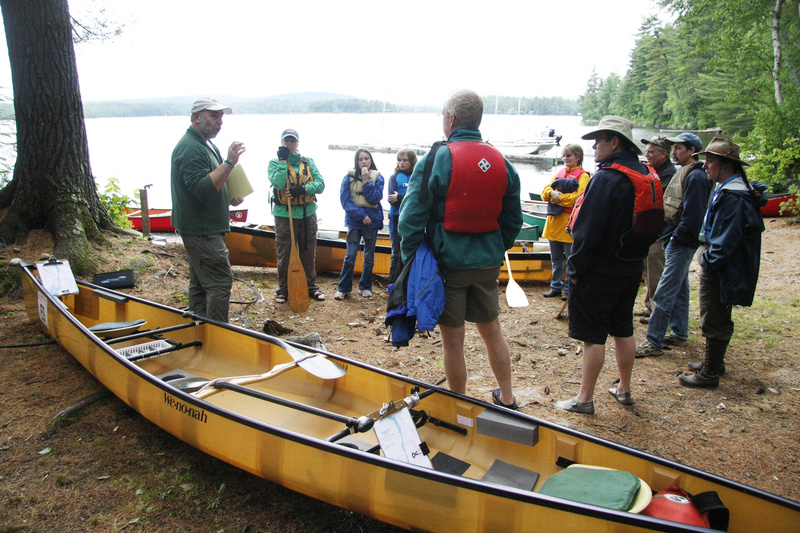 Shawn Burke educates participants about the strategies of canoe orienteering during last weekend's Maine Canoe Symposium at Winona Camps in Bridgton. The 25-year-old event brings together paddle guides from around New England, Quebec and New Brunswick.