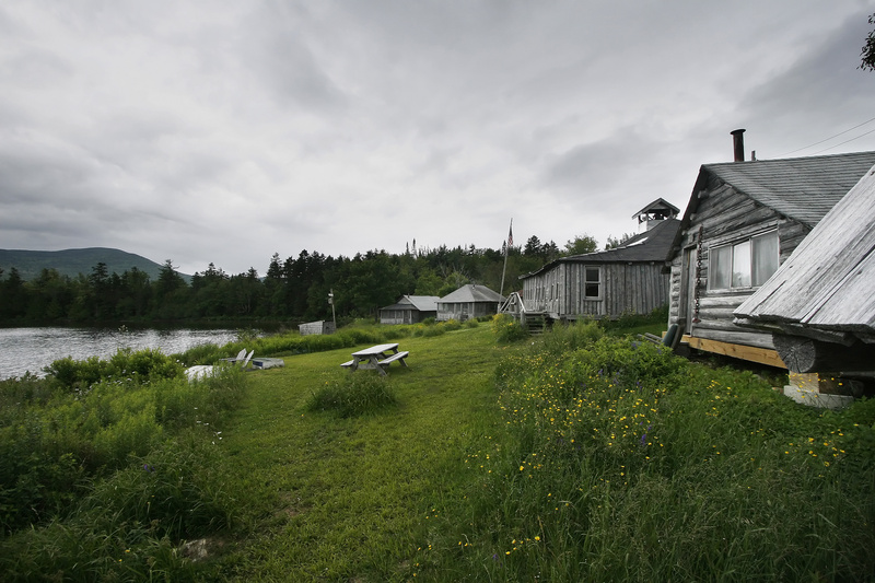 An 8.5-mile trail already exists from Medawisla Wilderness Lodge and Cabins to West Branch Pond Camps, pictured. At Second Roach Pond, a canoe trip to remote camping sites is being mapped out.