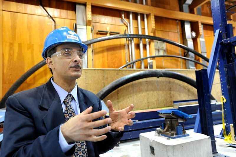 Habib Dagher discusses his role as Maine's wind-energy point man while working at the Advanced Structures and Composites Center lab at the University of Maine in Orono.