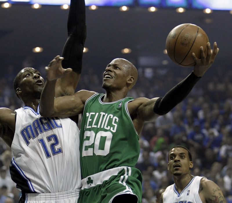 The Celtics will need Ray Allen's outside shooting if they expect to beat the Lakers in the NBA championship series that starts Thursday in Los Angeles. That may be asking a lot with Allen guarding Kobe Bryant.