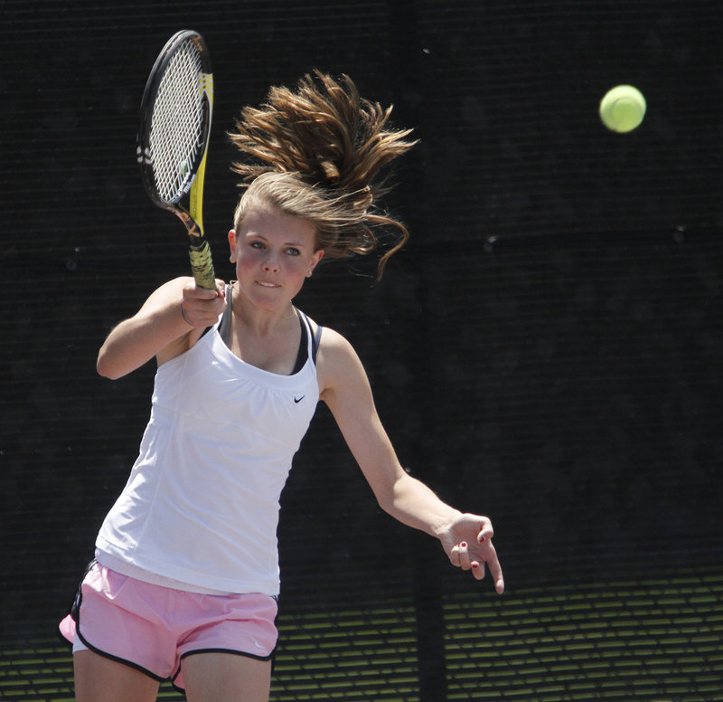 Falmouth's Analise Kump, the No. 1 seed in the girls' tournament, couldn't complete a second-set comeback against Brunswick's Elena Mandzhukova.