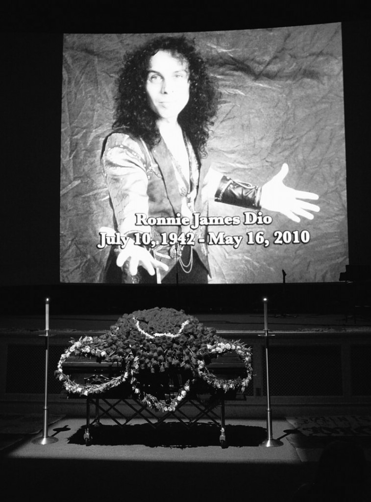 The casket of heavy-metal singer Ronnie James Dio is displayed during a public memorial service in Los Angeles on Sunday.
