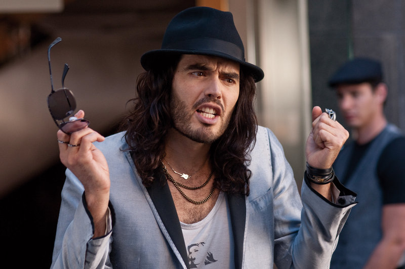 "Russell Brand as drug-addled rocker Aldous Snow in ""Get Him to the Greek,"" the story of a record company underling (Jonah Hill) who has three days to drag the uncooperative rock legend to Hollywood in time for a comeback concert."