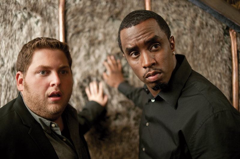 "Jonah Hill, left, and Sean Combs in ""Get Him to the Greek,"" the latest film from producer Judd Apatow. The film is a spin-off from Apatow's smash hit, ""Forgetting Sarah Marshall."""