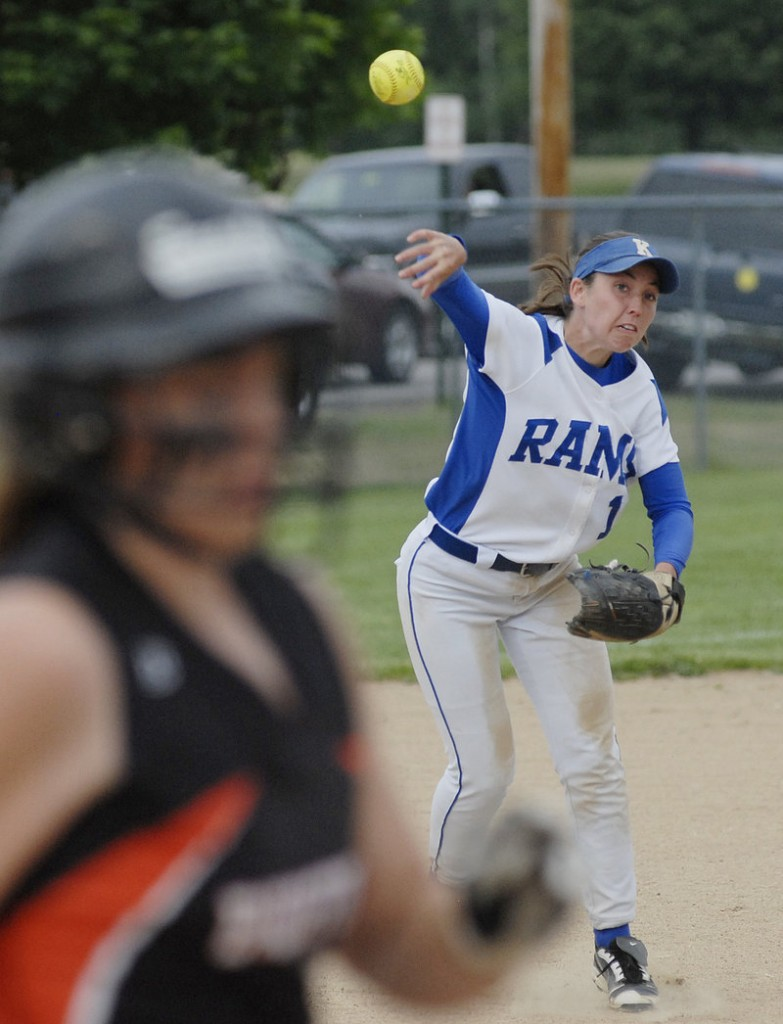 Alex Leonardi of Kennebunk makes a throw from third base trying to get a Biddeford runner headed to first during Wednesday's game at Biddeford. Kennebunk took a 3-2 victory.
