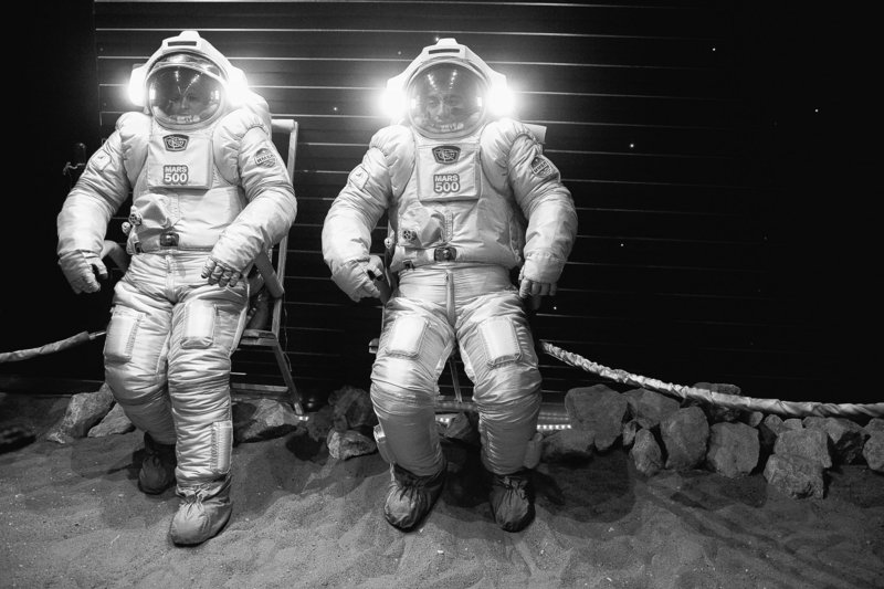 Researchers test spacesuits on a simulated Mars surface during a training session at Moscow's Institute for Medical and Biological Problems. An international crew will launch a 520-day mission to simulate a flight to Mars today.