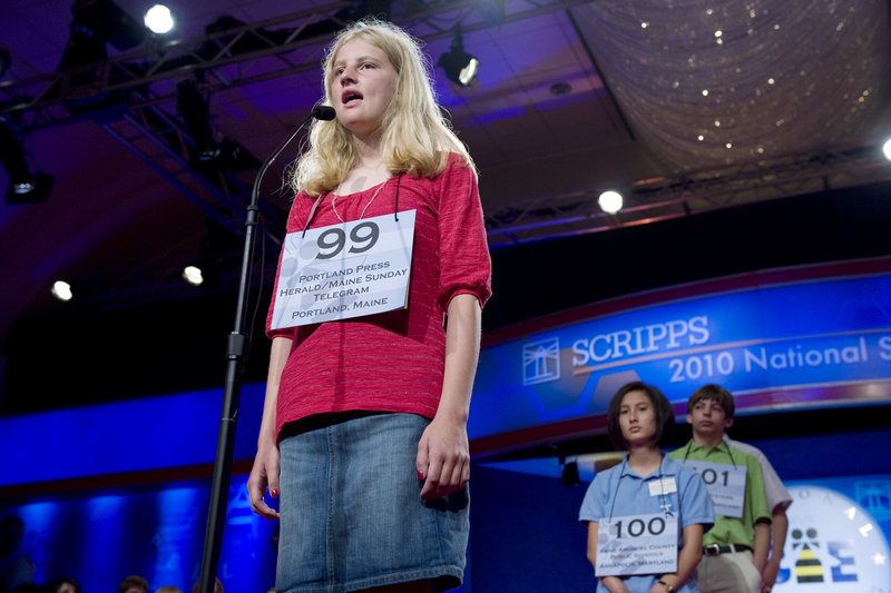 Lily Jordan of Cape Elizabeth participates in the preliminary rounds of the Scripps National Spelling Bee in Washington on Thursday. Lily spelled two words correctly in front of the large crowd, but did not advance to the semifinals.