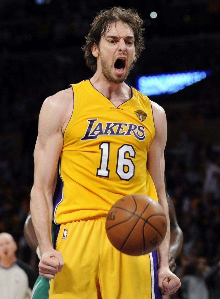 Paul Gasol of the Los Angeles Lakers reacts after a dunk Thursday night during the opening game of the NBA finals against the Boston Celtics. Gasol had 23 points and 14 rebounds in a 102-89 victory.
