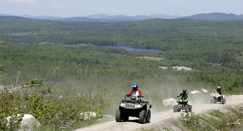 Riders enjoy one of the trails at Jericho Mountain State Park near Berlin, N.H. The four-year-old park, the state's newest and the only one being developed for ATVs and snowmobiles, has about 50 miles of trails now, with more to be created this summer and fall.