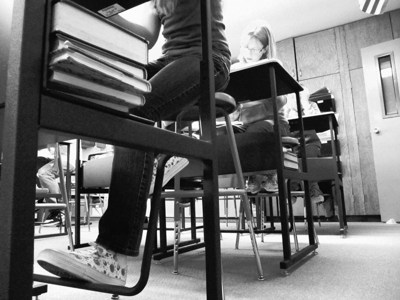 Sixth-graders are shown in their classroom at Hope Lutheran School in Idaho Falls, Idaho. In states such as Idaho, Minnesota and Wisconsin, the standard classroom desk has been replaced with height-adjustable work stations.