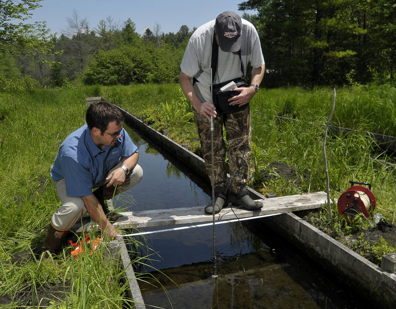 Mark Dubois, a geologist for Poland Spring, guides reporter Ray Routhier as he uses a flow rod and portable flow meter to measure the flow of spring runoff as it heads for a trout hatchery.