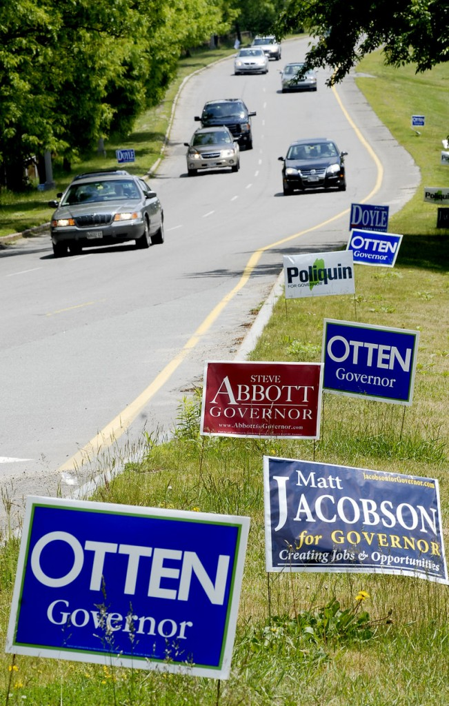 The plethora of campaign signs lining Franklin Arterial in Portland is evidence of the many candidates running for Maine governor. Such a large field is one reason that many voters are still undecided.