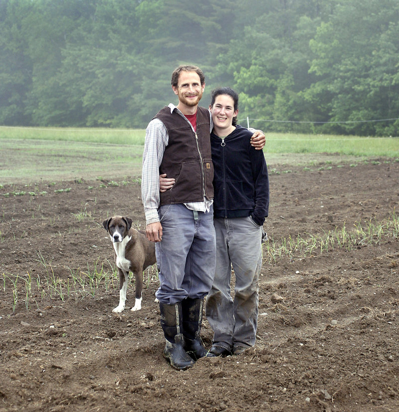 Outstanding in their field: Julia Davis and her fiance Andy McLeod, with Gabbie, in the 7,500-square-foot garden in Washington from which they hope to produce nearly all of the food for their September wedding dinner.