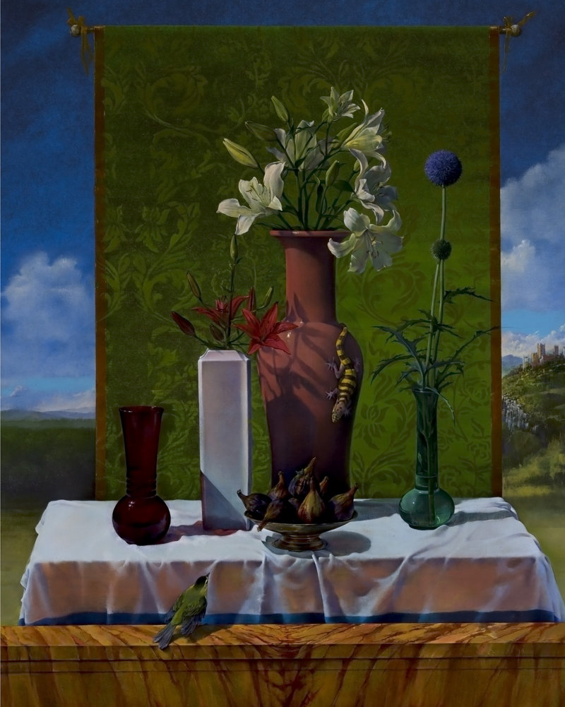 "Joseph Nicoletti's ""Still Life After Bellini,"" 2003, oil on canvas, 50 by 40 inches, at the Bates College Museum of Art in Lewiston"