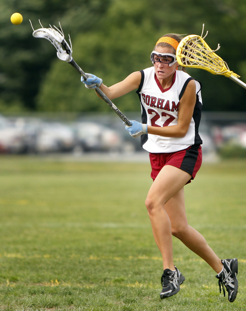 Chelsea Black of Gorham sends a shot on goal Wednesday during a Western Class A girls' lacrosse quarterfinal against Sanford. Black had five goals to help the third-seeded Rams advance with a 21-11 victory, setting up a semifinal against No. 2 Thornton Academy.
