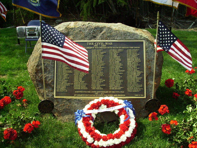 A memorial to people from Lebanon who served during the Civil War was dedicated during Memorial Day ceremonies.