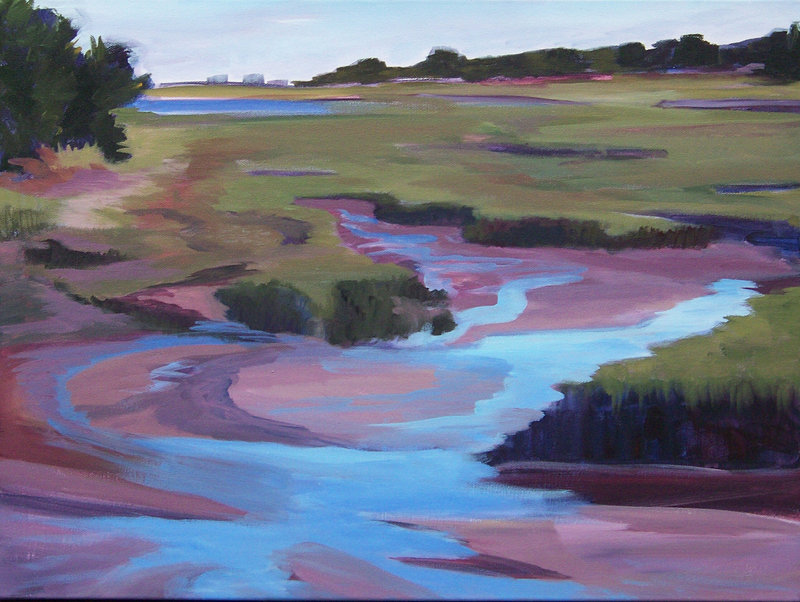 """""""Low Tide, Late Summer"""" by Diane Noble, from her exhibition """"Hills Beach Marsh & Beyond"""" at the University of New England."""