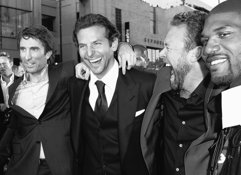 """Sharlto Copley, left, Bradley Cooper, director Joe Carnahan and Quinton """"Rampage"""" Jackson pose together at the premiere of """"The A-Team"""" in Los Angeles on Thursday."""
