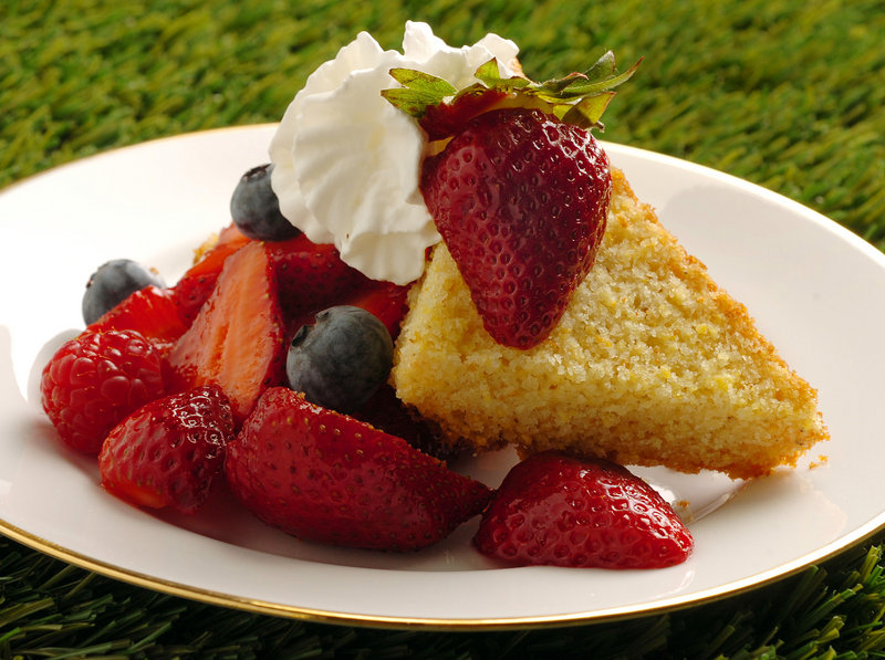 Warm Cornmeal Shortcake with Farm Stand Berries.