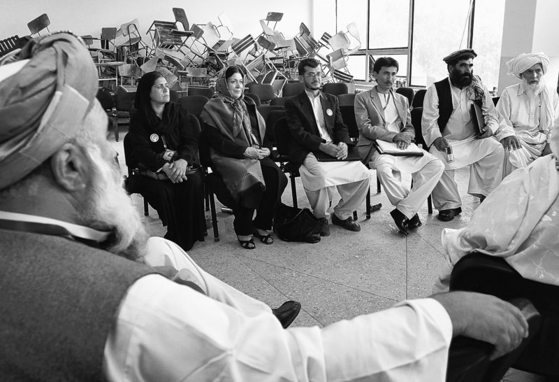 Delegates participate in a peace jirga in Kabul, Afghanistan, this month. The results of the three-day national conference included the request that certain people be removed from a blacklist that freezes their assets and limits travel.