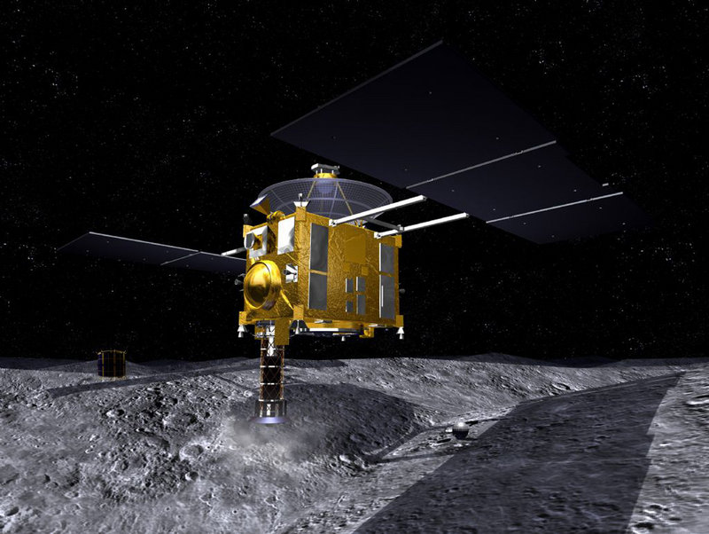 Artist's rendering shows the Japanese space probe Hayabusa collecting dust on Asteroid Itokawa, 180 million miles from Earth. Scientists scanning the sky over the Australian Outback late Sunday saw a burst of light that signaled the long-delayed return of the spacecraft and its capsule.