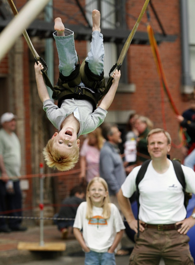 Joseph Dupree, 5, of Cumberland does a flip on the