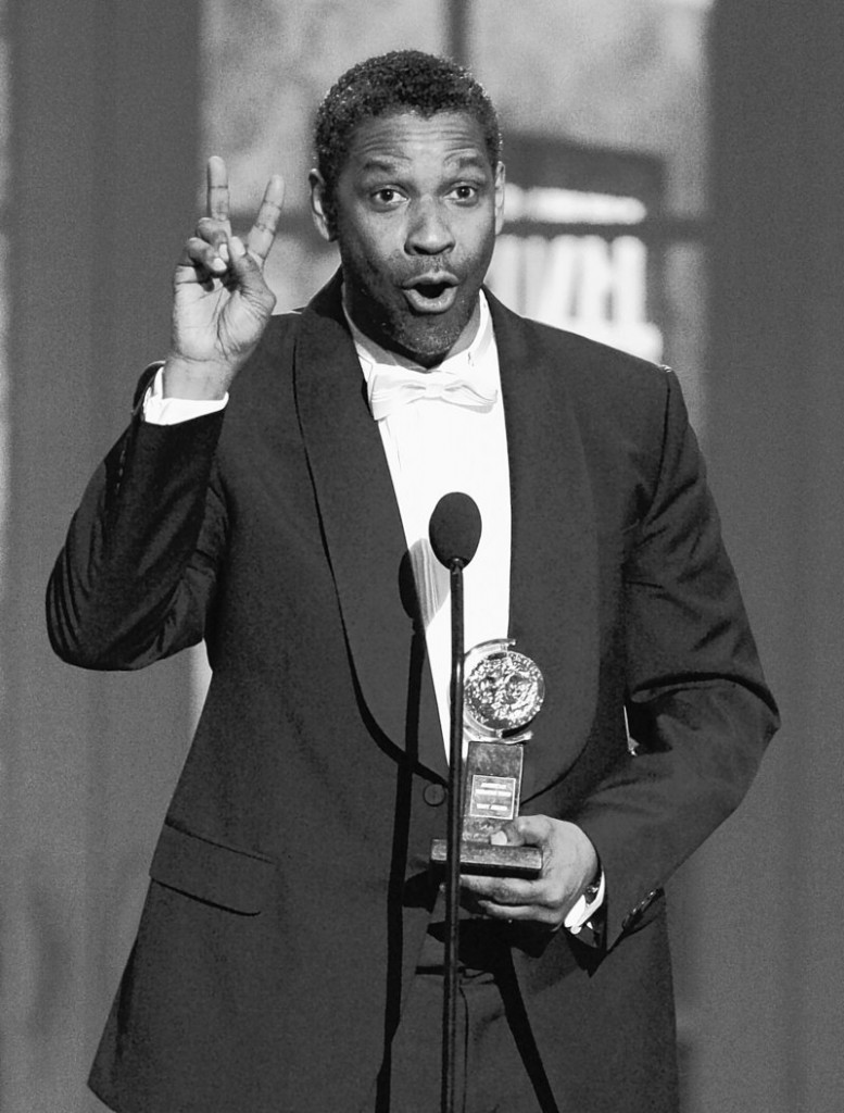 """Denzel Washington accepts the Tony Award for Best Performance by a Leading Actor in a Play for """"Fences."""""""
