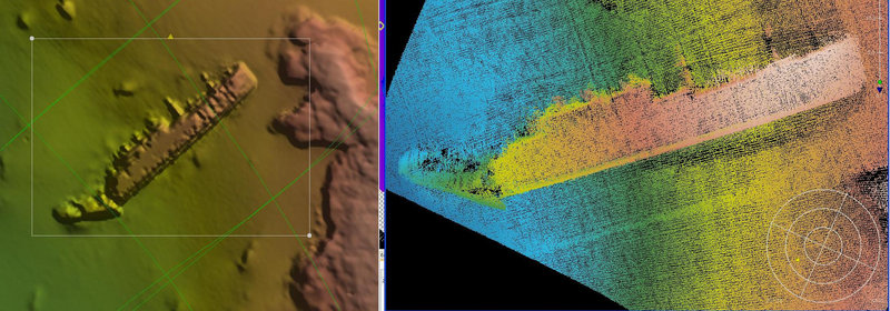 Images show two views of what is believed to be the Italian ship Rosandra. Underwater archaeologists believe they have found the wreck of the Italian merchant ship torpedoed by the British during World War II off Albania's southern coast.