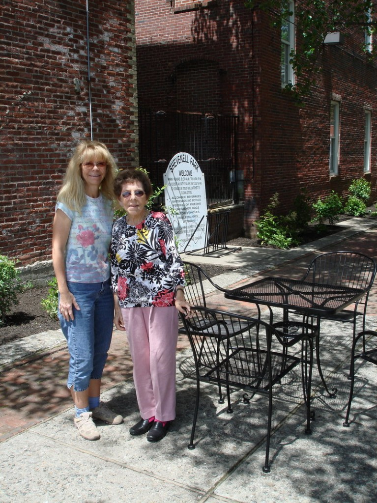 Rachel S. Reggep, right, granddaughter of Israel Shevenell, after whom the park is named, stopped by the park to eat lunch with her daughter Karen Benjamin.
