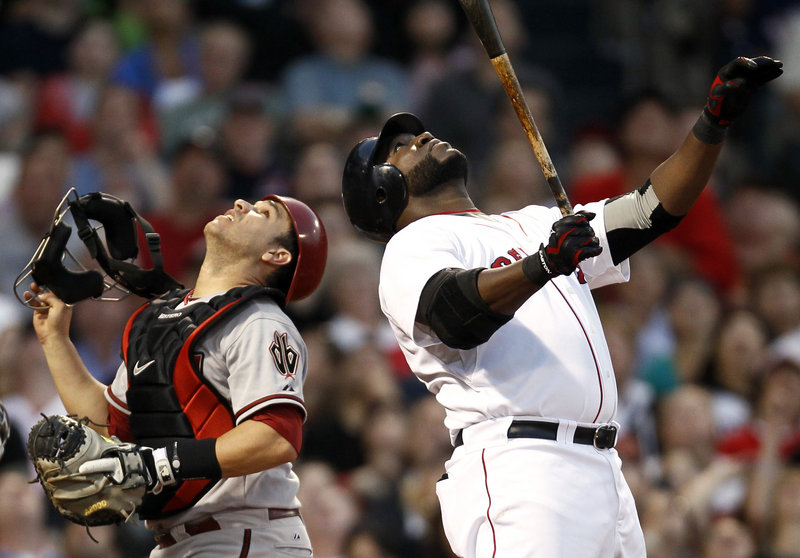 Arizona catcher Miguel Montero looks one way, David Ortiz of the Boston Red Sox looks the other and when the play was over, Montero had the ball in his glove in the third inning Tuesday night.