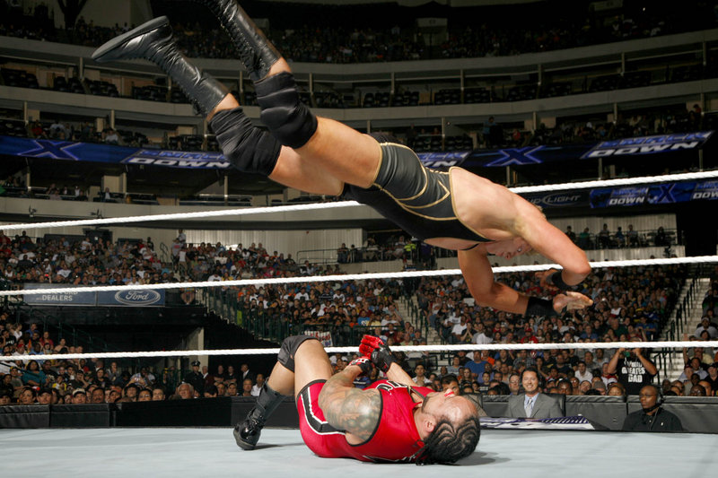 Jack Swagger, airborne, wrestles Saturday at the Cumberland County Civic Center.