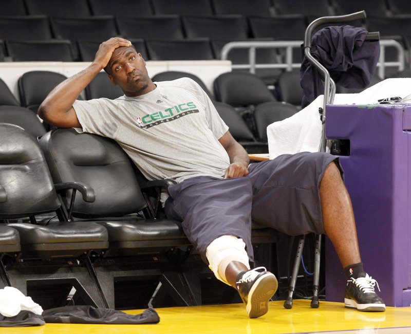 Kendrick Perkins can do nothing but agonize Wednesday after learning he will miss Game 7 of the Celtics' series against the Lakers tonight with a sprained right knee.